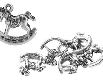Wholesale Silver Tone Rocking Horse Charms, Box of 5