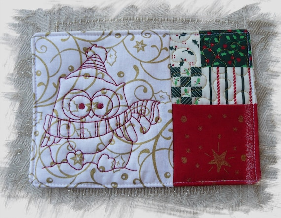 Winter Owl Mug Rug With Pocket In The Hoop By Annesembroidery