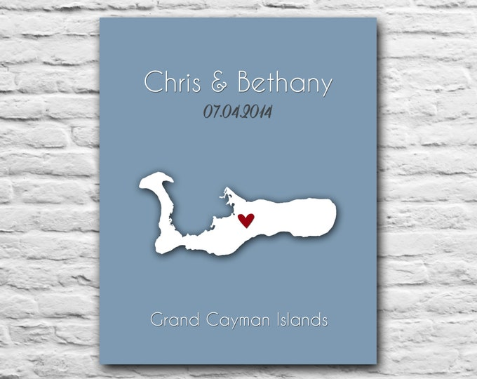 Any Location Grand Cayman Wedding Island Honeymoon Caribbean Gift Wife Anniversary Husband Birthday Christmas Gift Personalized Map Print