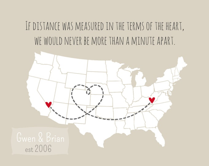 Unique Best Friend Gift, Personalized Gift Bestie Valentine's Gift U.S. Country Map Custom Birthday Gift for Best Friend BFF heart print
