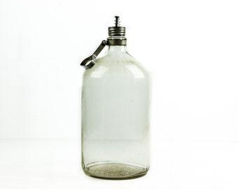 Large Oil Dispenser Glass Bottle  - 1940's