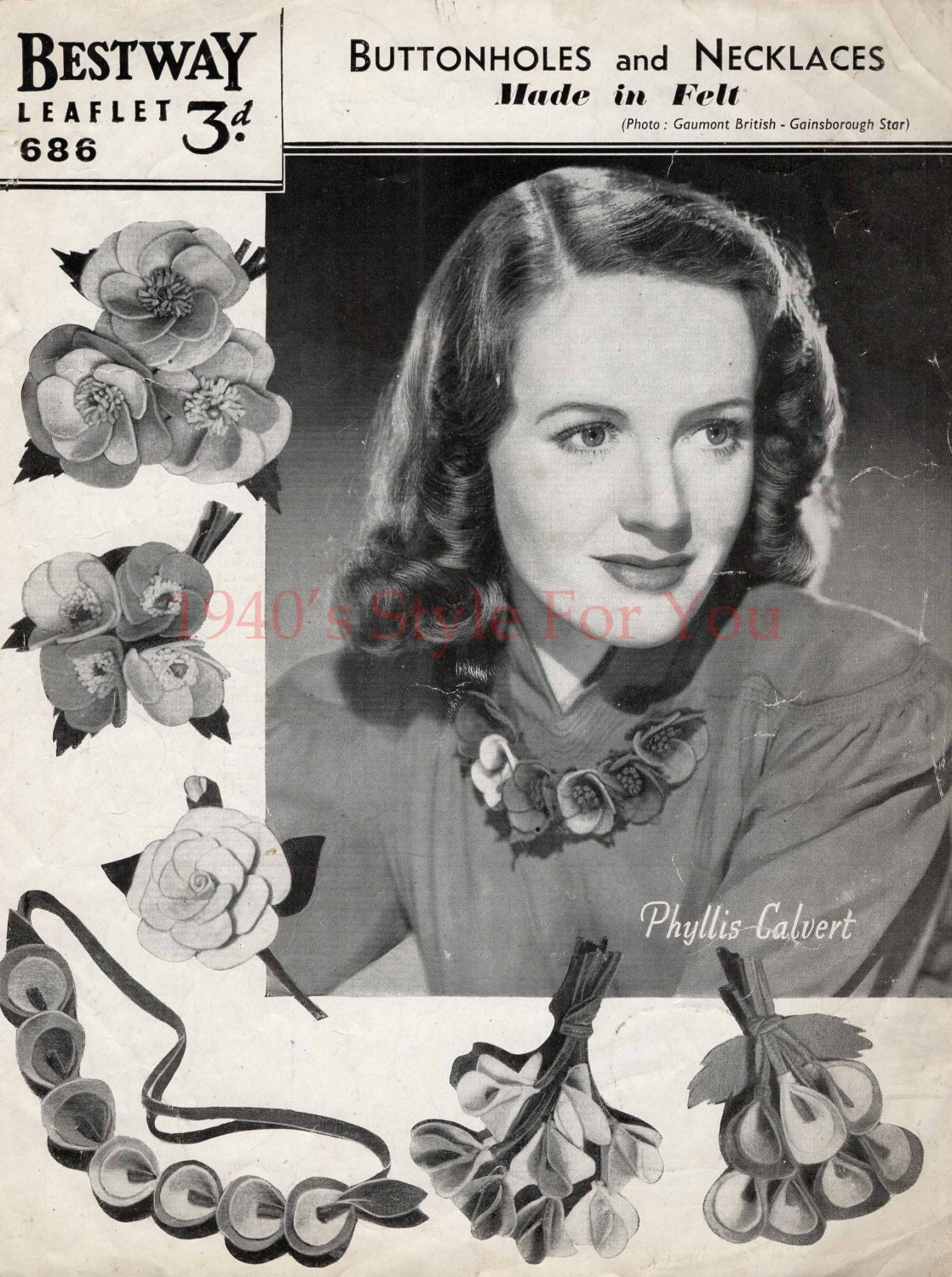 1940's Bestway 686 PDF Sewing Pattern For Felt Corsages