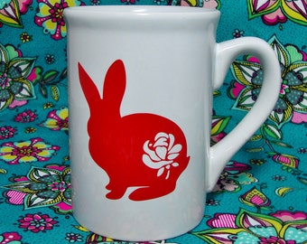 Rabbit With Rose Coffee Cup - Customizable