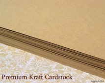 "Card Stock - 80 lb. - 8.5"" x 11"" - 25 Flat Sheets - Blank - Choose Kraft, Black, White, or Ivory - Acid and Lignin Free"