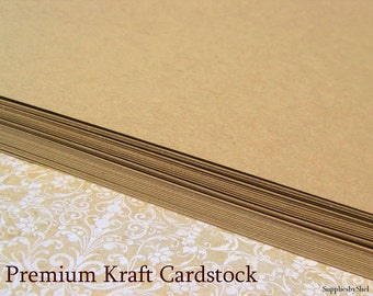 "Kraft Card Stock 80# - 8.5"" x 11"" - 25 Flat Sheets - Blank - Choose Kraft, Black, White, or Ivory - Acid and Lignin Free"