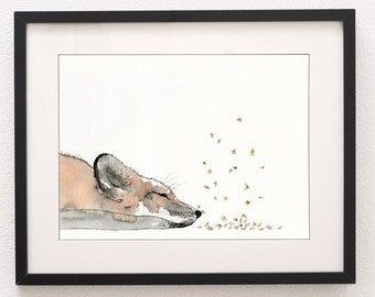 A4 Sleeping Fox Art Print, Art Print, Fox Art, Wall Art, Water Colour Print, Fox, Nursery Art, Nursery Print, Fine Art Print