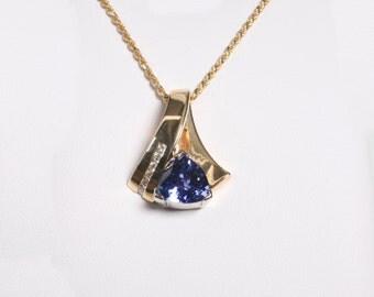 Tanzanite& Diamond Pendant in 18K yellow gold