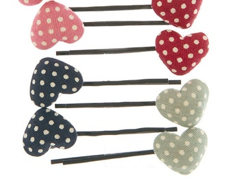 Decorative bobby pins polka dot fabric heart bobby pin set hair clips decorative hairpins hair accessories navy red light green pink hearts