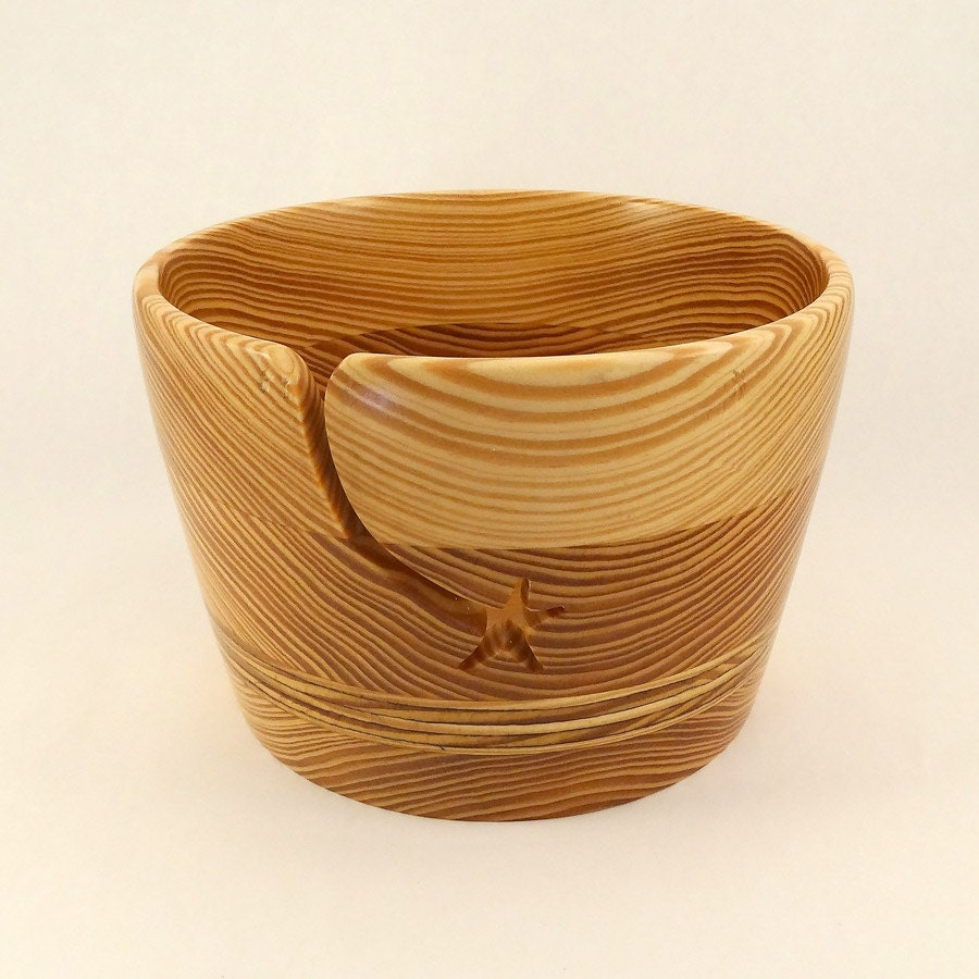 Knitting Bowls Wood : Wood yarn bowl large handcrafted star groove for knitting