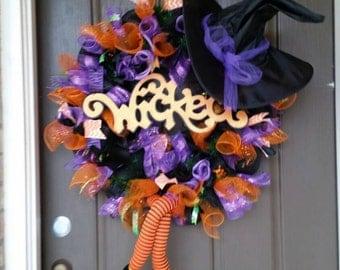 Halloween wreath, Witch wreath,fall decor