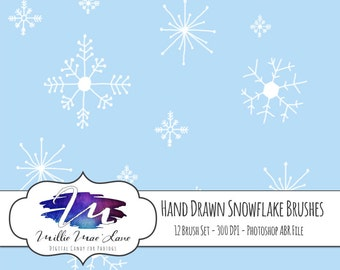 12 Hand Drawn Snow, Snowflake Photoshop Brushes