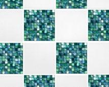 """Green Blue Mosaic Tile Transfers 4"""" x 4"""" Printed Waterproof Vinyl Tile Stickers Pack of 10"""