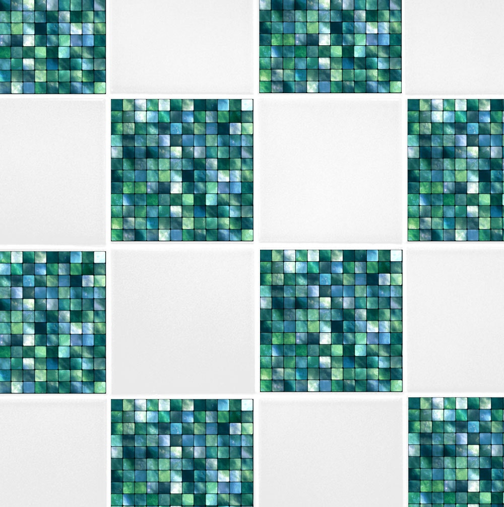 green blue mosaic tile transfers 6 x 6 printed