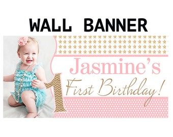 Twinkle Little Star Banner ~ Personalized Party Banners - Photo First Birthday Banner - Custom Banner - Pink Stars Banner