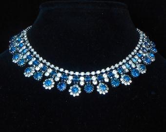 Signed KRAMER Rhinestone Necklace Sapphire Blue & Clear Vintage circa 1950's