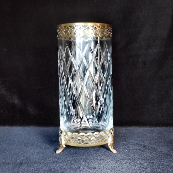 heinrich villeroy and boch crystal vase with brass filigree. Black Bedroom Furniture Sets. Home Design Ideas