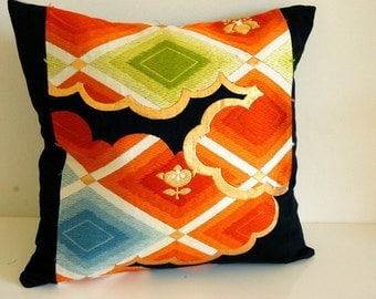 Beautiful Vintage Japanese Kimono Obi Cushion cover**Behind the clouds_1***