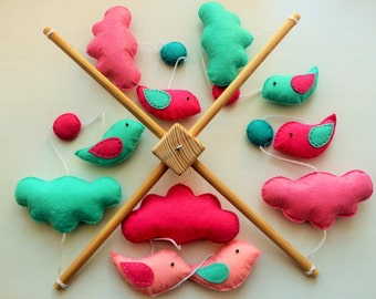 Birds and Clouds Felt Baby mobile, Turquoise and Pink Baby Mobile, Hanging Decor READY TO SHIP