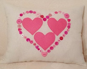 Cream Linen Pink Felt Hearts Cushion Decorative Pillow Valentine's Day Gift