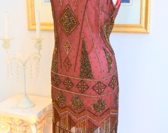 1920s Style Great Gatsby Wine Beaded ART DECO Flapper Dress- S, m, L, xl, or Plus sizes
