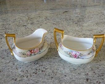 T&V Limoges antique sugar and creamer set with hand painted roses