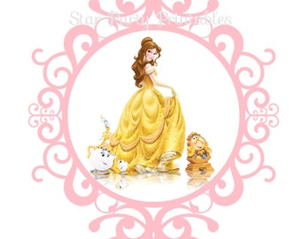 Belle, Beauty and The Beast Digital Image, T shirt Printable Iron On Transfer Sticker custom Birthday Shirt