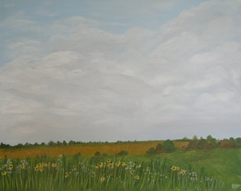 Kansas Wildflowers. Acrylic on 30x24 gallery wrapped canvas.