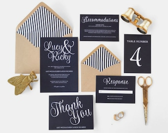 Modern, Classic, Rustic Script Wedding Invitation in Dark Navy Blue - FREE SHIPPING - Lucy Collection