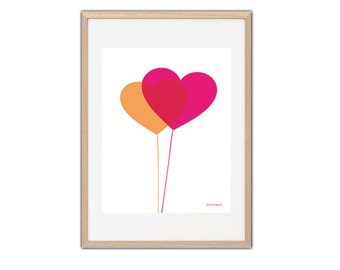 Print pink orang gril double heart