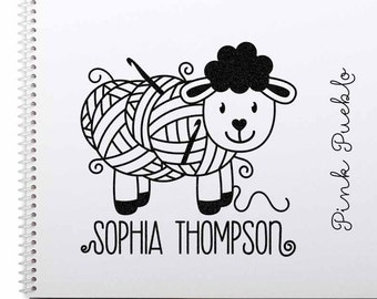 """Large 3x3"""" Personalized Crochet Rubber Stamp, Custom Crochet Label Stamp"""