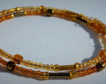 Handmade Golden Browns Memory Wire Bracelet - 2 Tier, Perfect Gift