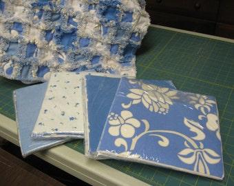 Queen Blue Floral Rag Quilt Kit