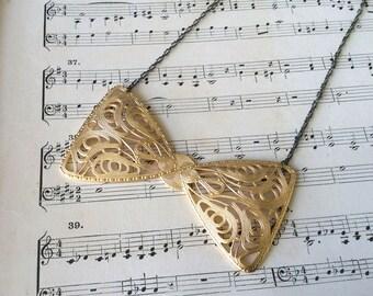 Filagree Bow Tie Necklace