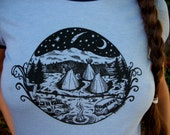 Campers womens ringer shirt