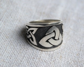 sterling silver ring Celtic big, size to order, near 11 grams