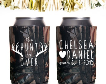 Handwritten The Hunt Is Over Wedding Favors: Custom and Personalized Can Cooler // Heart Antlers Deer