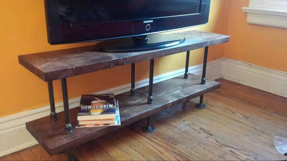 Industrial Tv Stand Media Console Bookshelf Rustic Tv