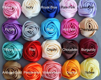 5 Silk Rolled Rose Flower Rolled Rosette Satin Rolled Rose Flower Fabric Flower Bride Hair Accessory Free Shipping 20USD SF999