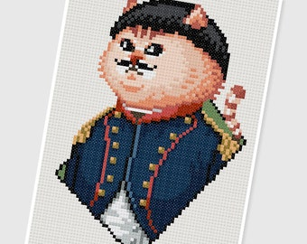PDF Cross Stitch pattern - 0016.General Cat - INSTANT DOWNLOAD