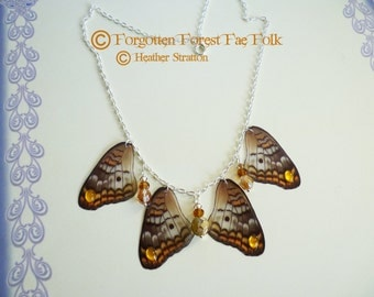 Autumn Dancing Wings, butterfly wings, butterfly necklace