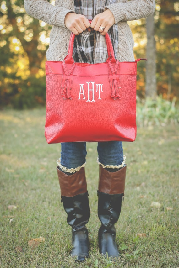 Monogram red tote bag