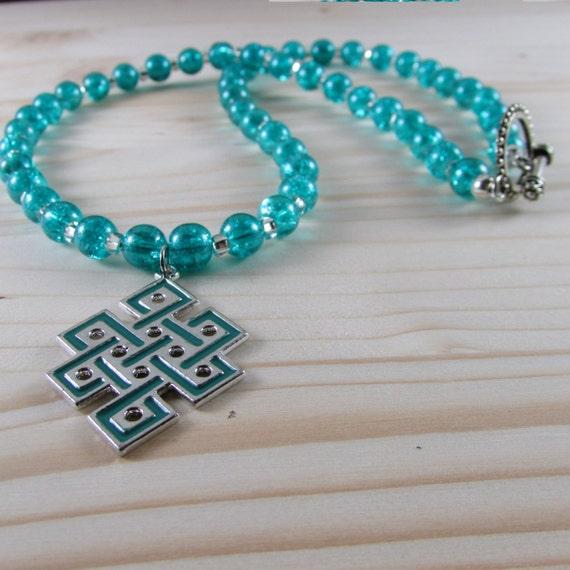 teal blue necklace celtic endless knot pendant by mysticgemz