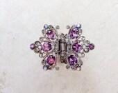 High Quality Purple Iridescent Crystal Rhinestone Hair Claw Clip Holiday Gift