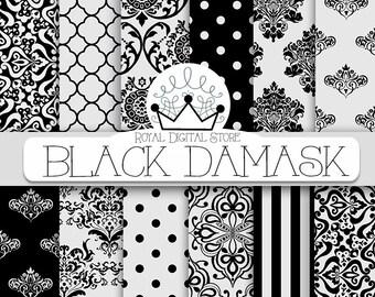 """Damask Digital Paper: """" Black Damask"""" with black damask background, black damask pattern, black quatrefoil"""