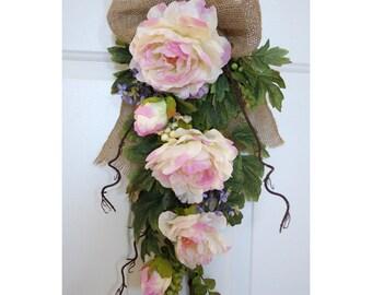 SALE Spring Wreath, Rustic Teardrop Wreath, Pink Peonies Lilac Blossom Spring Flowers Swag