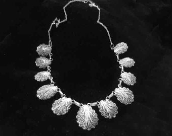 Vintage Sterling Double Sided Filigree Scallop Shaped Necklace