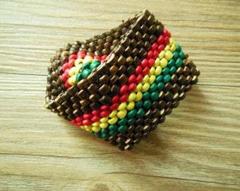 Coconut Shell Bracelet Rasta Bracelet Stretch Handmade