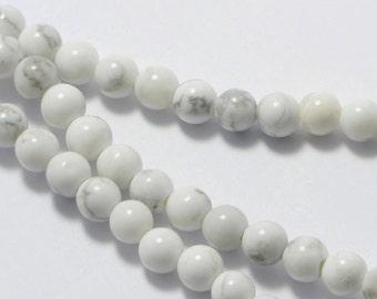 "White Howlite Beads in 4mm, Round, 15.5"" Inch Strand, Wrap Bracelet Beads. Great Semi Precious Gemstone Bead Supplies #SD-S7069"