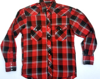 Vintage Mens Wrangler Western Plaid Shirt