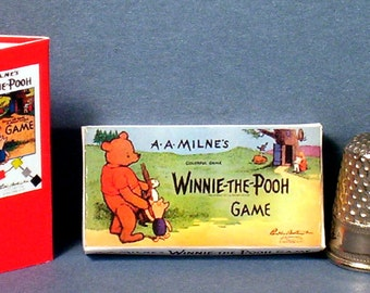 Winnie The Pooh Game 1933 - Dollhouse Miniature - 1:12 scale - Dollhouse Accessory - 1930s Dollhouse  nursery Pooh Bear game toy Tigger